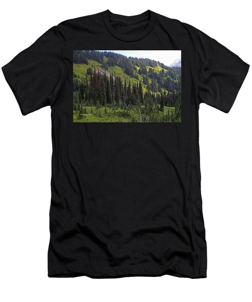 Men's T-Shirt (Slim Fit) featuring the photograph Mount Rainier Ridges And Fir Trees.. by Tom Janca