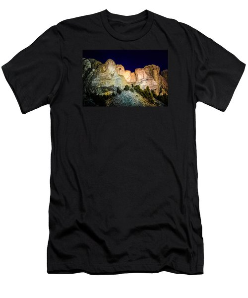 Mount Rushmore At Night Men's T-Shirt (Slim Fit) by Penny Lisowski