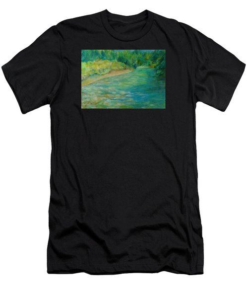 Mountain River In Oregon Colorful Original Oil Painting Men's T-Shirt (Athletic Fit)