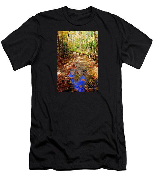 Mountain Stream Covered With Fall Leaves Men's T-Shirt (Slim Fit) by Eunice Miller