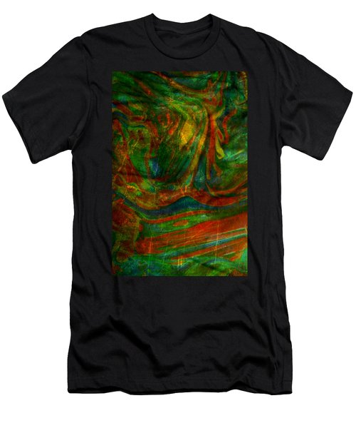 Men's T-Shirt (Slim Fit) featuring the mixed media Mountains In The Rain by Ally  White