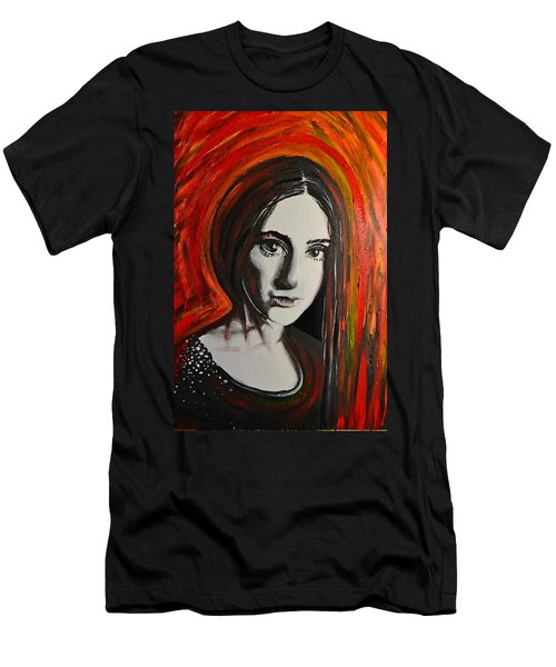 Men's T-Shirt (Slim Fit) featuring the painting Portrait In Black #x by Sandro Ramani