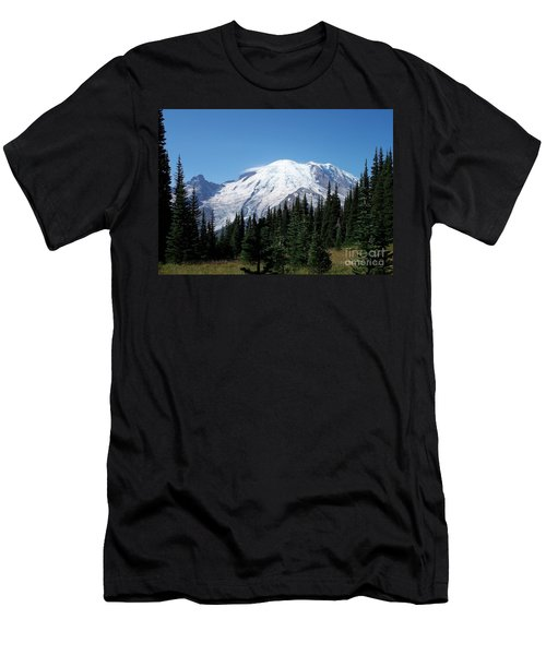Men's T-Shirt (Slim Fit) featuring the photograph Mt. Rainier In August by Chalet Roome-Rigdon