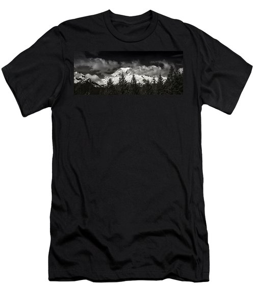 Mt Rainier Panorama B W Men's T-Shirt (Athletic Fit)