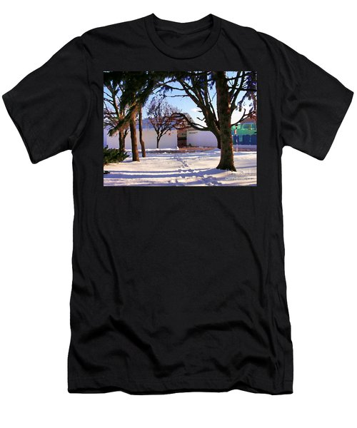Men's T-Shirt (Slim Fit) featuring the photograph Abstract Of Center For The Arts Exterior Allentown Pa by Jacqueline M Lewis