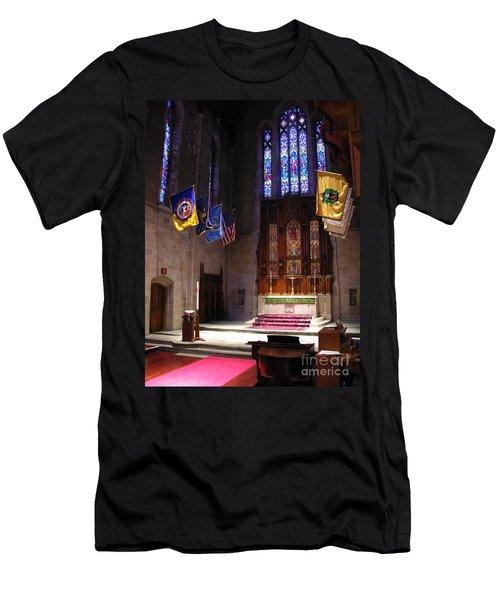 Men's T-Shirt (Slim Fit) featuring the photograph  Egner Memorial Chapel Altar by Jacqueline M Lewis