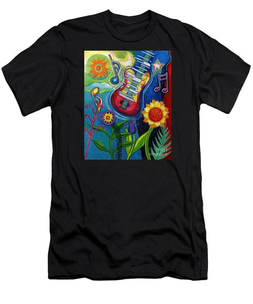 Music On Flowers Men's T-Shirt (Slim Fit) by Genevieve Esson