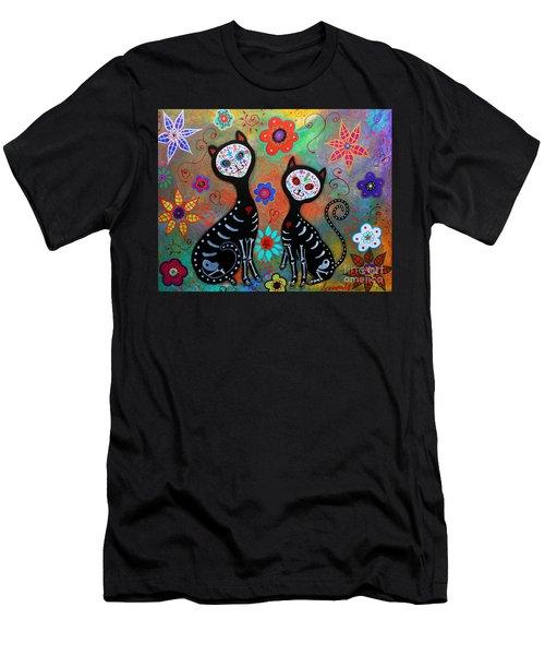 My 2 Cats Dia De Los Muertos Men's T-Shirt (Athletic Fit)