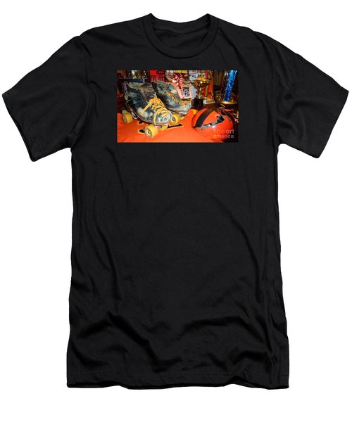My Battle Scarred Roller Derby Skates And Helmet   Men's T-Shirt (Slim Fit) by Jim Fitzpatrick