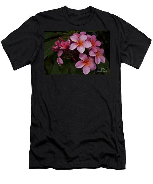Na Lei Pua Melia O Wailua - Pink Tropical Plumeria Hawaii Men's T-Shirt (Athletic Fit)