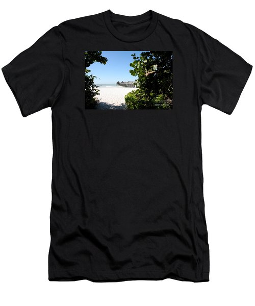 Naples Pier View Men's T-Shirt (Slim Fit) by Christiane Schulze Art And Photography