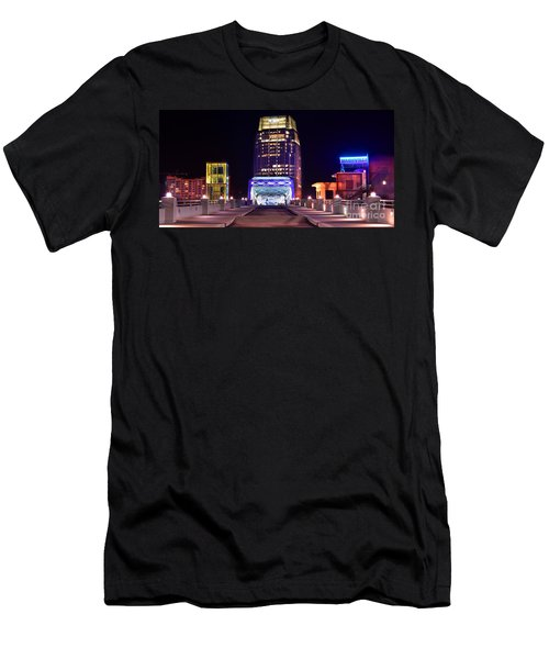 Nashville Sight Night Skyline Pinnacle Panorama Color Men's T-Shirt (Slim Fit) by Jon Holiday