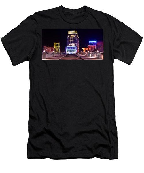 Nashville Sight Night Skyline Pinnacle Panorama Color Men's T-Shirt (Slim Fit) by Jon Holiday