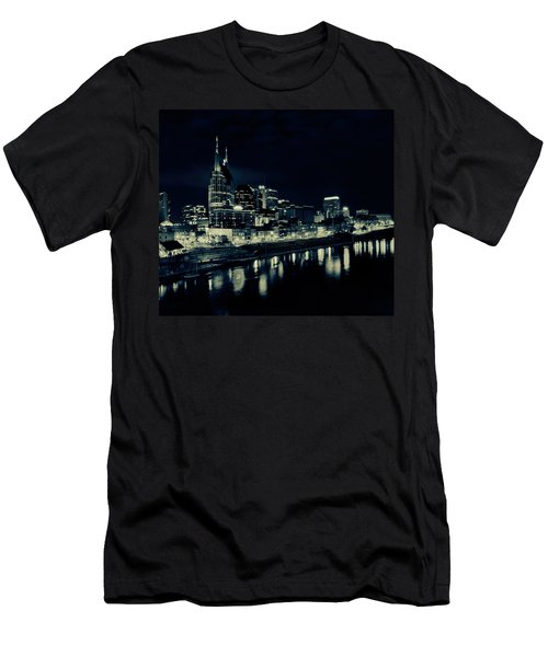 Nashville Skyline Reflected At Night Men's T-Shirt (Slim Fit) by Dan Sproul
