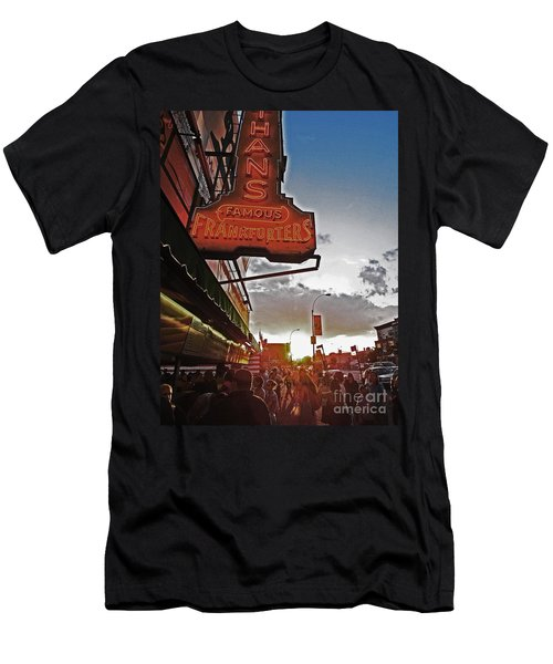 Men's T-Shirt (Slim Fit) featuring the photograph Nathan's Famous Coney Island Sunset Frankfurters by Andy Prendy
