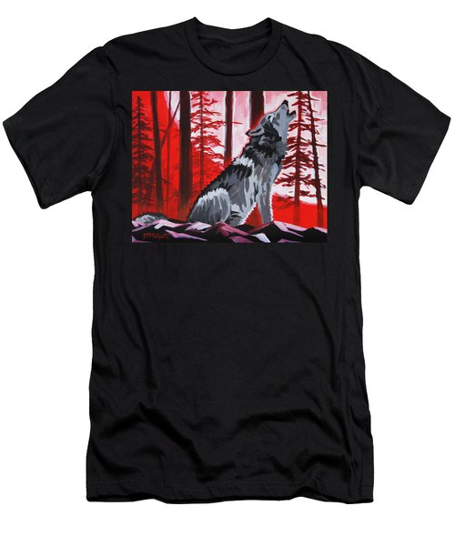 Wolf With Red Sky Men's T-Shirt (Athletic Fit)