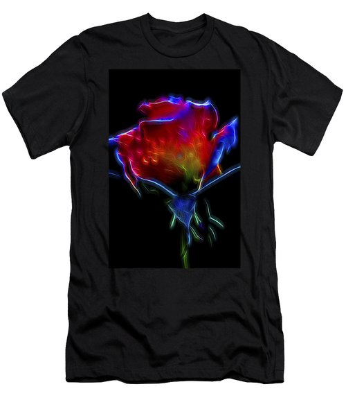Men's T-Shirt (Slim Fit) featuring the digital art Neon Rose by William Horden