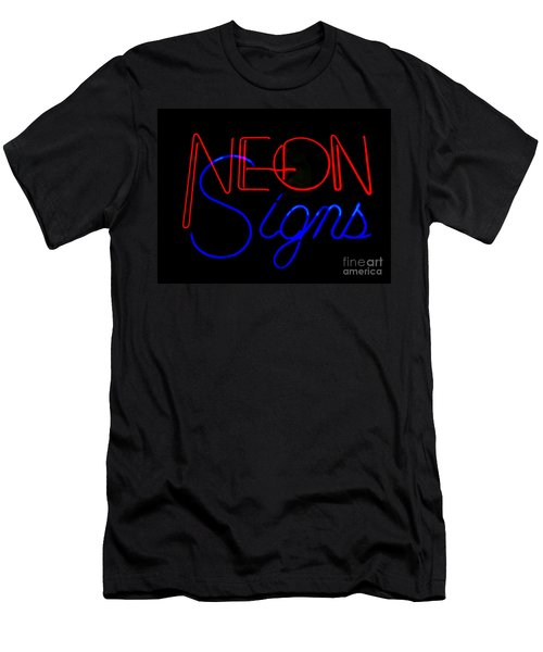 Neon Signs In Black Men's T-Shirt (Slim Fit) by Kelly Awad