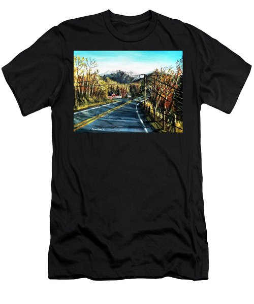 Men's T-Shirt (Slim Fit) featuring the painting New England Drive by Shana Rowe Jackson