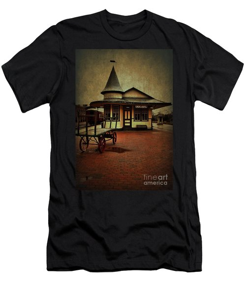 Men's T-Shirt (Slim Fit) featuring the photograph New Hope Ivyland Train Station by Debra Fedchin
