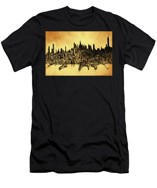 New York Skyline 78 - Mid Manhattan Ink Watercolor Painting Men's T-Shirt (Athletic Fit)
