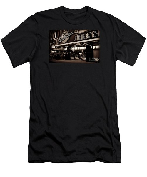 New York At Night - Brooklyn Diner - Sepia Men's T-Shirt (Slim Fit) by Miriam Danar