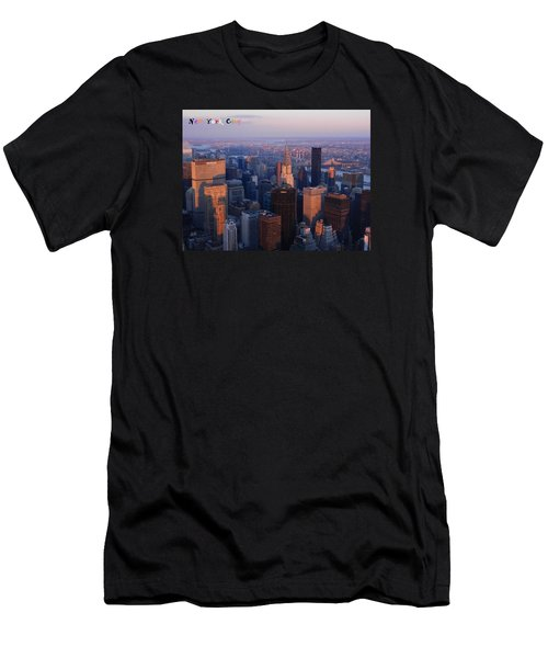 New York City At Dusk Men's T-Shirt (Slim Fit) by Emmy Marie Vickers
