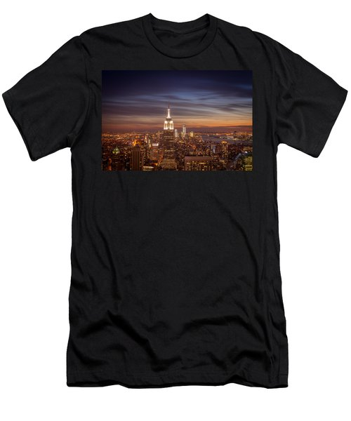 New York City Skyline And Empire State Building At Dusk Men's T-Shirt (Athletic Fit)