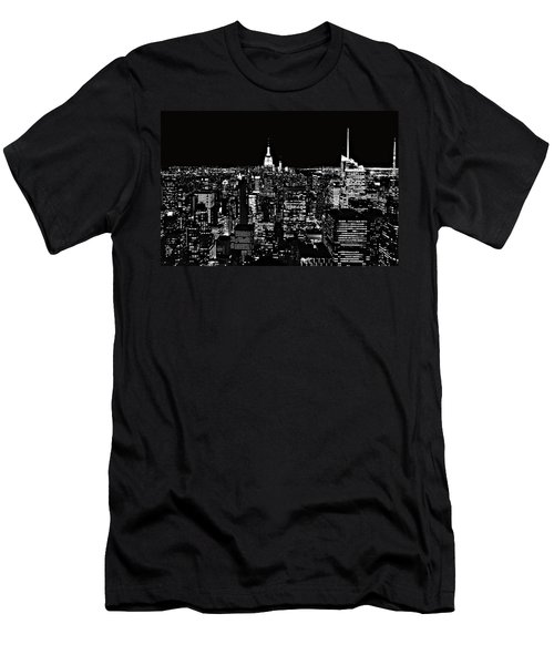 New York City Skyline At Night Men's T-Shirt (Athletic Fit)