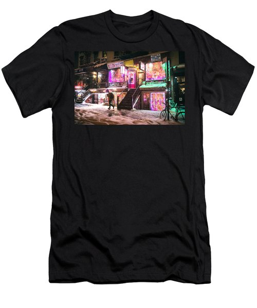 New York City - Snow And Colorful Lights At Night Men's T-Shirt (Athletic Fit)