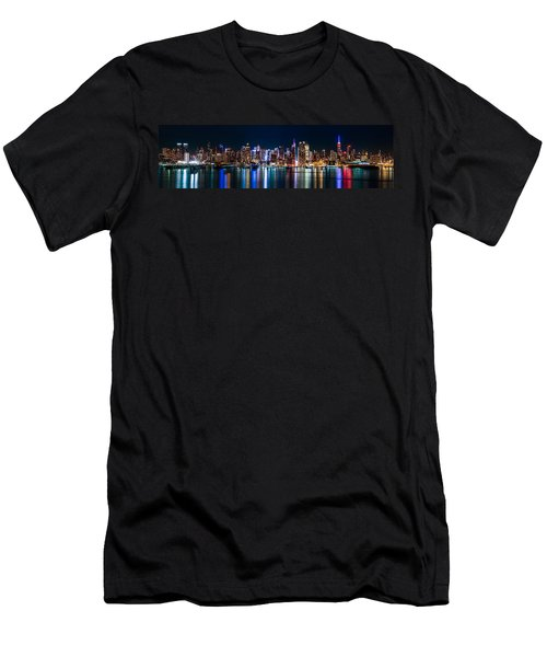 New York Panorama By Night Men's T-Shirt (Athletic Fit)