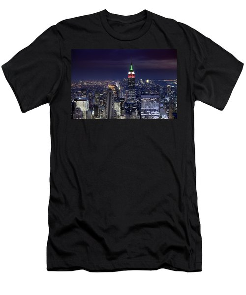 New York Skyline Night Color Men's T-Shirt (Athletic Fit)