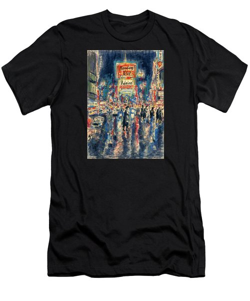 New York Times Square 79 - Watercolor Art Painting Men's T-Shirt (Athletic Fit)