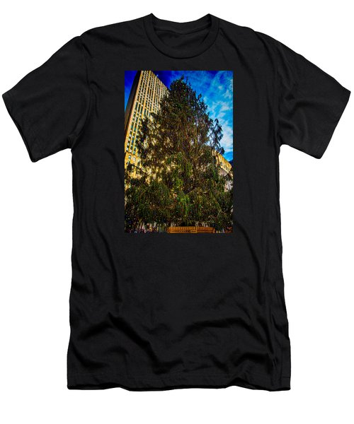 Men's T-Shirt (Slim Fit) featuring the photograph New York's Holiday Tree by Chris Lord
