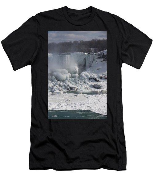 Niagara Falls Ice Buildup - American Falls New York State U S A Men's T-Shirt (Athletic Fit)