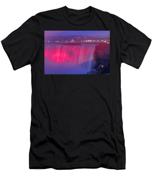 Niagara Falls Pretty In Pink Lights. Men's T-Shirt (Athletic Fit)