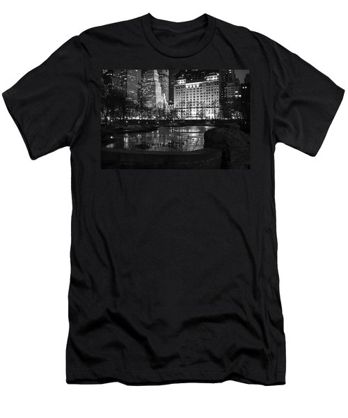 Night Central Park Lake H Men's T-Shirt (Athletic Fit)