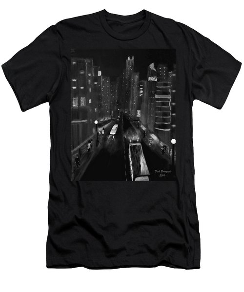 Night City Scape Men's T-Shirt (Athletic Fit)