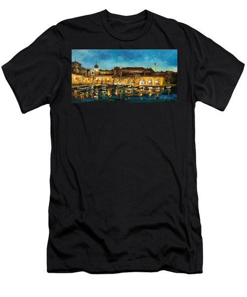 Night In Dubrovnik Harbour Men's T-Shirt (Athletic Fit)