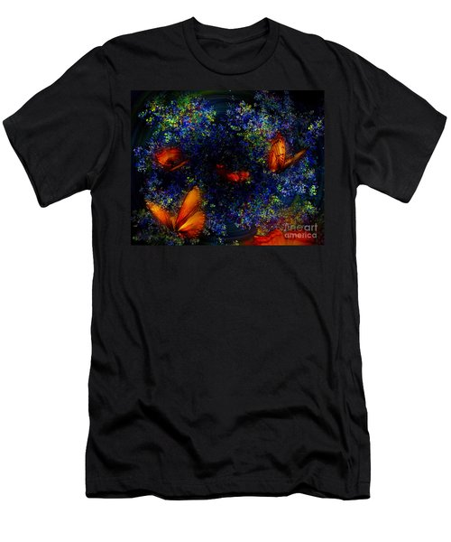 Men's T-Shirt (Slim Fit) featuring the digital art Night Of The Butterflies by Olga Hamilton