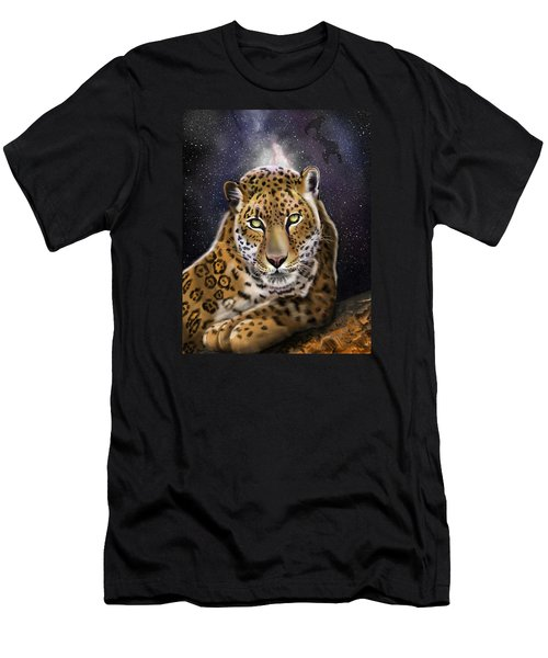 Men's T-Shirt (Athletic Fit) featuring the painting Fourth Of The Big Cat Series - Leopard by Thomas J Herring