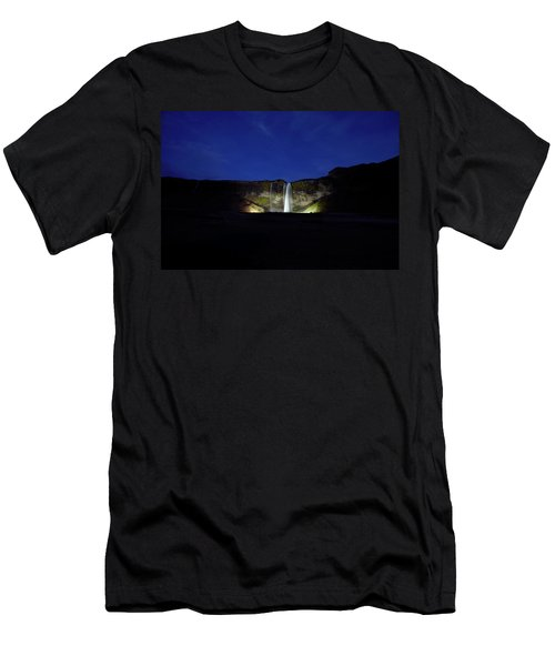 Night Shot Of Seljalandsfoss Men's T-Shirt (Athletic Fit)