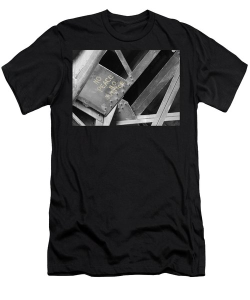 Men's T-Shirt (Slim Fit) featuring the photograph No Peace No Justice by Patricia Babbitt