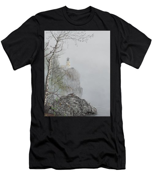 North Shore Lighthouse In The Fog Men's T-Shirt (Athletic Fit)