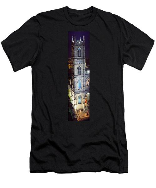 Notre Dame De Montreal At Night Men's T-Shirt (Athletic Fit)