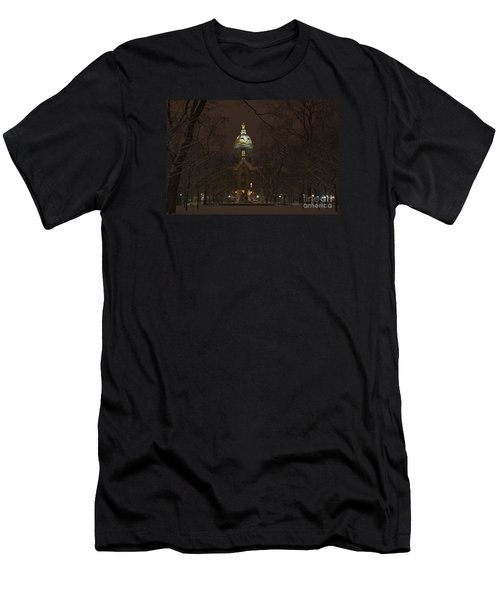 Notre Dame Golden Dome Snow Men's T-Shirt (Slim Fit) by John Stephens