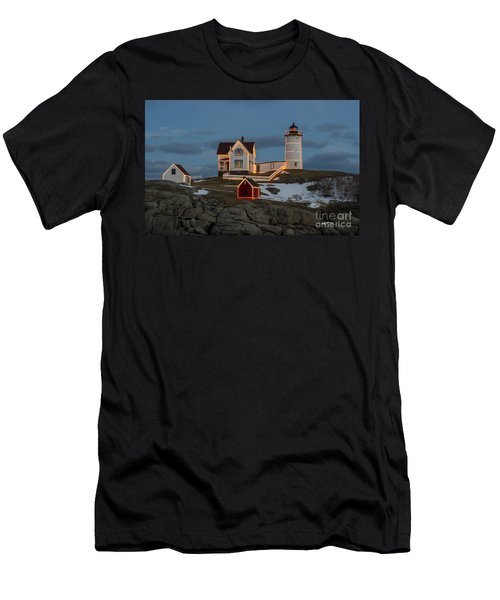 Nubble Lighthouse At Christmas Men's T-Shirt (Athletic Fit)