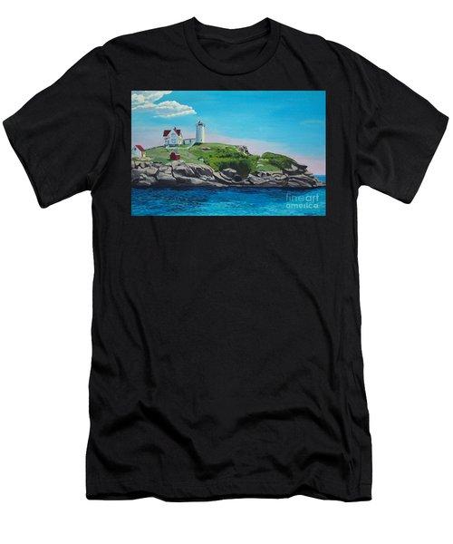 Nubble Lighthouse Sunrise Men's T-Shirt (Athletic Fit)