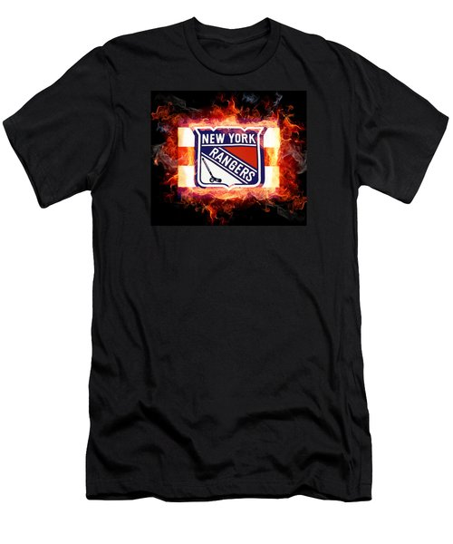 Men's T-Shirt (Slim Fit) featuring the digital art Ny Rangers Are Hot by Nina Bradica