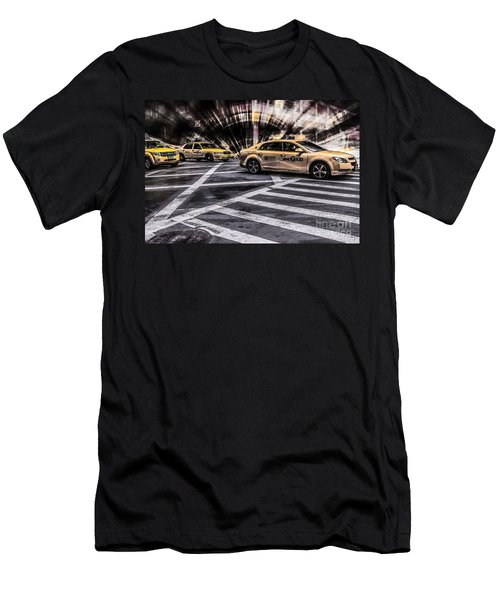Nyc Yellow Cab On 5th Street - White Men's T-Shirt (Athletic Fit)